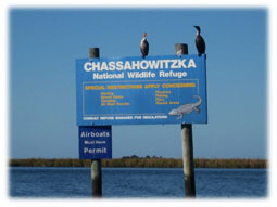 Chassahowitzka national wildlife refuge sign.