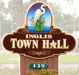 Inglis Town Hall Sign.