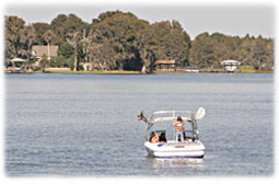 Water skiing on a lake in Inverness Florida.